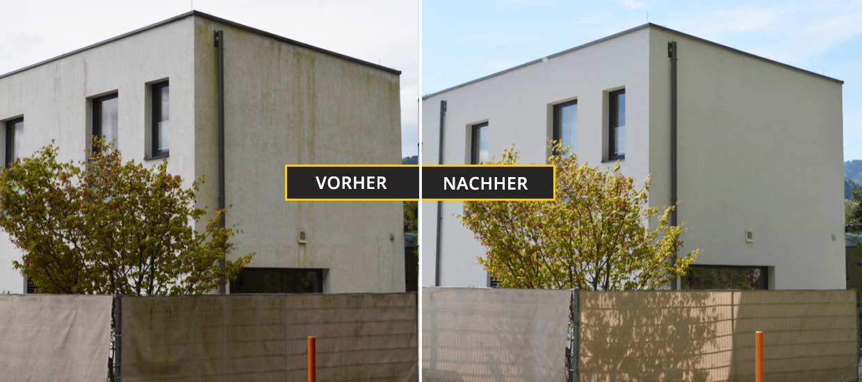 Fassadenreinigung Klagenfurt, Kärnten, Fassadenreinigung einer sehr verschmutzen Fassade mit Algen und Schimmel - Vorher Nachher Foto