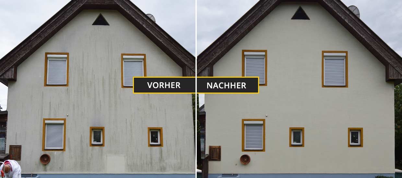 Fassadenreinigung Klagenfurt, Kärnten, Fassadenreinigung eines Einfamilienhauses mit Algen auf der Fassade - Vorher Nachher Foto