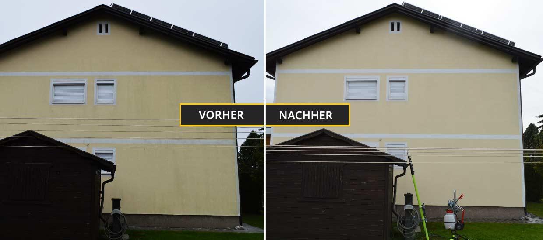 Fassadenreinigung Klagenfurt, Kärnten, Fassadenreinigung eines Einfamilienhauses - Vorher Nachher Foto