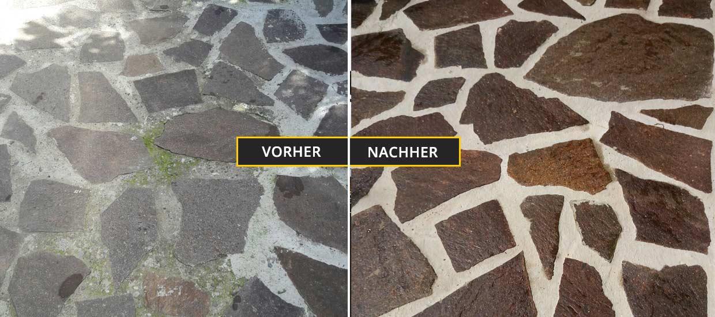 Fassadenreinigung Klagenfurt, Kärnten, Reinigung eines Steinbodens - Vorher Nachher Foto