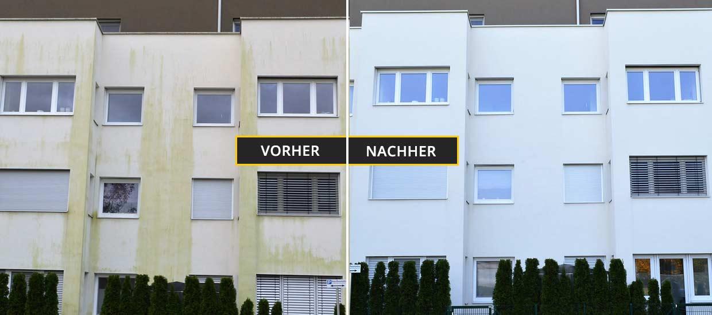 Fassadenreinigung Klagenfurt, Kärnten. Reinigung einer Fassade eines großen Wohnhauses in Klagenfurt. Vorher Nachher Foto