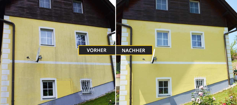 Fassadenreinigung Klagenfurt, Kärnten. Fassadenreinigung eines Bauernhauses mit verschmutzter gelber Fassade. Vorher Nachher Foto