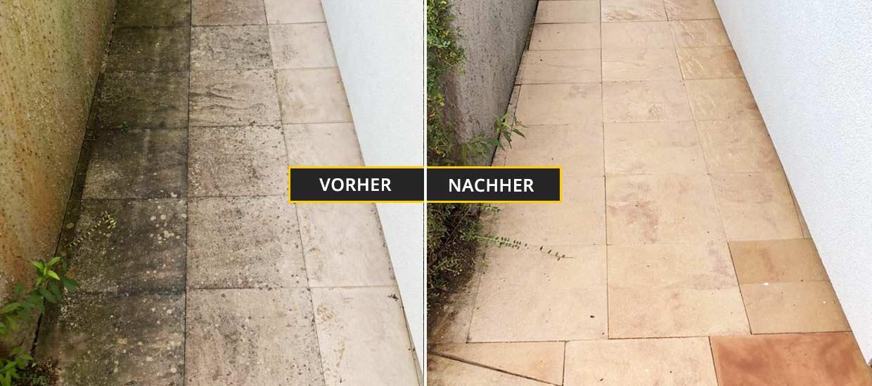 Fassadenreinigung Klagenfurt, Kärnten. Reinigung eines Steinbodens mit speziellem Reinigungsverfahren. Vorher Nachher Foto