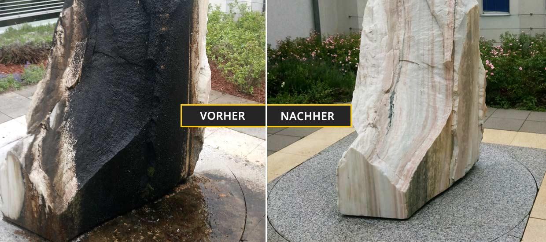Fassadenreinigung Klagenfurt, Kärnten. Reinigung einer Steinskulptur von Algen und Schimmel. Vorher Nachher Foto