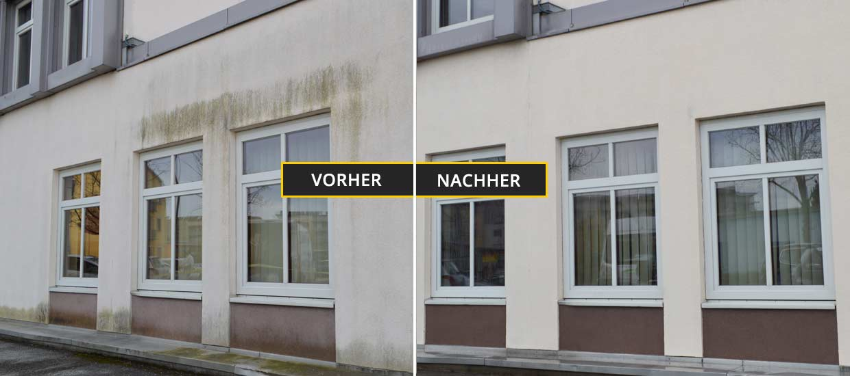 Fassadenreinigung Klagenfurt, Kärnten, Fassadenreinigung eines Firmengebäudes, stark verschmutz mit Algen und Schimmel auf Fassade und Steinboden. Vorher Nachher Foto