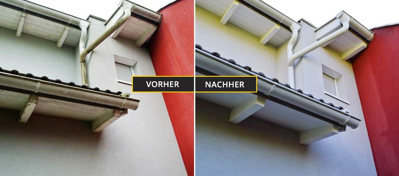 Fassadenreinigung Klagenfurt, Kärnten, Fassadenreinigung von Unterholz, Regenrinne, verschmutzt mit Algen und Schimmel. Vorher Nachher Foto