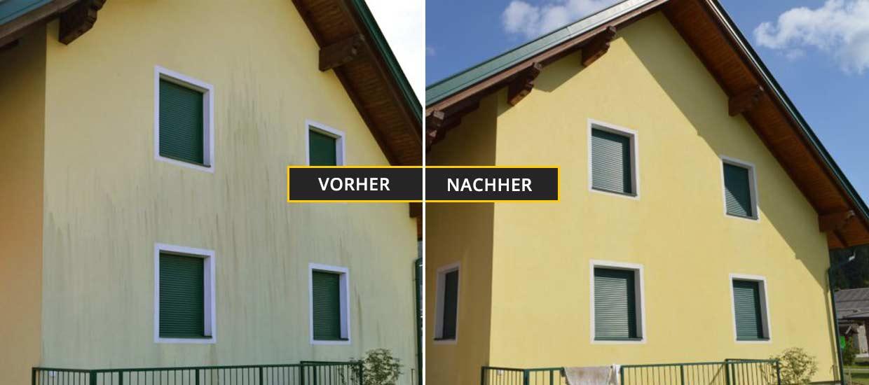 Fassadenreinigung Klagenfurt, Kärnten, Fassadenreinigung eines gelben Einfamilienhauses mit Schimmel und Algen an der Fassade im vorderen Teil. Vorher Nachher Foto
