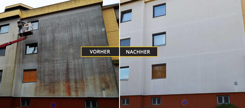 Extrem stark verschmutze Wohnhausfassade durch Algen und Schimmel. Fassadenreinigung Klagenfurt, Kärnten
