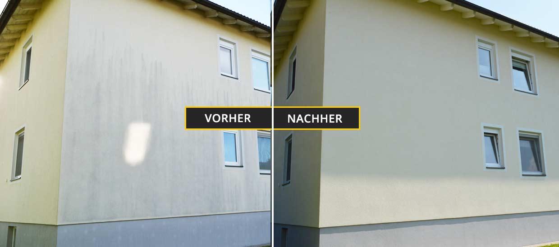 Fassadenreinigung Klagenfurt, Kärnten, Mehrfamilienhaus Fassadenreinigung Vorher Nachher Foto