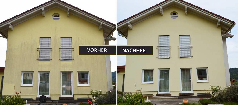 Fassadenreinigung Klagenfurt, Kärnten, Vorher Nachher Foto