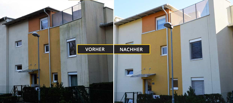 Klagenfurter Wohnhaus mit sehr stark verschmutzer Fassade. Zimpasser Fassadenreinigung Klagenfurt, Kärnten
